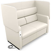 OFM Morph Series Privacy Sofa with Flip-Up Privacy Panels & AC/USB Recharge Panel in Linen Vinyl