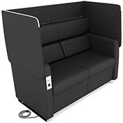 OFM Morph Series Privacy Sofa with Flip-Up Privacy Panels & AC/USB Recharge Panel in Midnight Vinyl