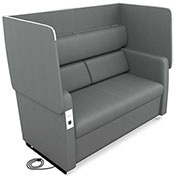OFM Morph Series Privacy Sofa with Flip-Up Privacy Panels & AC/USB Recharge Panel in Slate Vinyl
