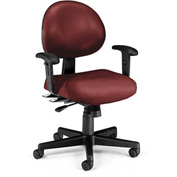 OFM Antimicrobial 24 Hour Task Chair with Arms - Vinyl - Mid Back - Wine