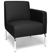 OFM Lounge Chair Sectional with Left Arm - Vinyl - Black - Triumph Series