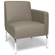 OFM Triumph Series Left Arm Modular Lounge Chair with Polyurethane Seat and Chrome Feet Taupe