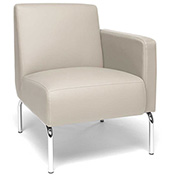 OFM Triumph Series Left Arm Modular Lounge Chair with Polyurethane Seat and Chrome Feet Cream