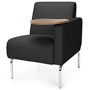 OFM Lounge Chair Sectional with Left Arm and Bronze Table - Vinyl - Black - Triumph Series