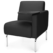 OFM Lounge Chair Sectional with Left Arm and Tungsten Table - Vinyl - Black - Triumph Series