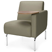OFM Triumph Series Left Arm Modular Lounge Polyurethane Seat & Chrome Feet Taupe w/ Bronze Tablet