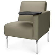 OFM Triumph Series Left Arm Modular Lounge Polyurethane Seat & Chrome Feet Taupe w/ Tungsten Tablet