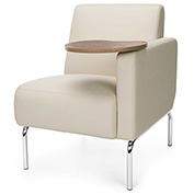 OFM Triumph Series Left Arm Modular Lounge Polyurethane Seat & Chrome Feet Cream w/ Bronze Tablet