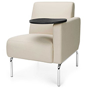 OFM Triumph Series Left Arm Modular Lounge Polyurethane Seat & Chrome Feet Cream w/ Tungsten