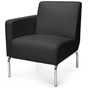 OFM Triumph Series Right Arm Modular Lounge Chair with Polyurethane Seat and Chrome Feet Black