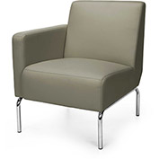 OFM Triumph Series Right Arm Modular Lounge Chair with Polyurethane Seat and Chrome Feet Taupe