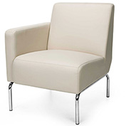 OFM Triumph Series Right Arm Modular Lounge Chair with Polyurethane Seat and Chrome Feet Cream