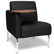 OFM Triumph Series Right Arm Modular Lounge Polyurethane Seat & Chrome Feet Black w/ Bronze Tablet