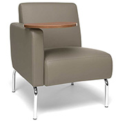 OFM Lounge Chair Sectional with Right Arm and Bronze Table - Vinyl - Taupe - Triumph Series