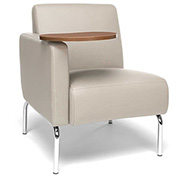 OFM Lounge Chair Sectional with Right Arm and Bronze Table - Vinyl - Cream - Triumph Series