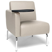 OFM Lounge Chair Sectional with Right Arm and Tungsten Table - Vinyl - Cream - Triumph Series