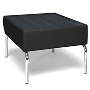 Triumph Series Laminate Black Top Table with Tungsten Polyurethane Border and Chrome Feet