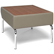 Triumph Series Laminate Bronze Top Table with Taupe Polyurethane Border and Chrome Feet