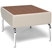 Triumph Series Laminate Bronze Top Table with Cream Polyurethane Border and Chrome Feet