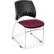 Ofm Stars Fabric Stack Chair, Burgundy - Pkg Qty 4