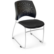 Ofm Stars Fabric Stack Chair, Black - Pkg Qty 4