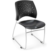 OFM Stacking Chair - Plastic - Mid Back - Black - Stars Series - Pkg Qty 4
