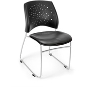 Ofm Stars Vinyl Stack Chair, Charcoal - Pkg Qty 4