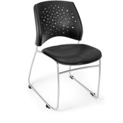 OFM Stacking Chair - Vinyl - Mid Back - Black - Stars Series - Pkg Qty 4