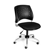 OFM Stars Fabric Swivel Chair, Black