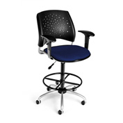 OFM Fabric Swivel Stool with Arms & Drafting Kit (Footstool) - Stars Pattern - Navy