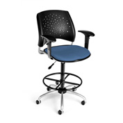 OFM Fabric Swivel Stool with Arms & Drafting Kit (Footstool) - Stars Pattern - Cornflower Blue