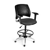 OFM Fabric Swivel Stool with Arms & Drafting Kit (Footstool) - Stars Pattern - Slate Gray