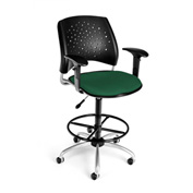 OFM Fabric Swivel Stool with Arms & Drafting Kit (Footstool) - Stars Pattern - Forest Green