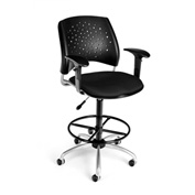 OFM Fabric Swivel Stool with Arms & Drafting Kit (Footstool) - Stars Pattern - Black