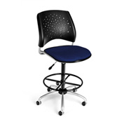 OFM Fabric Swivel Stool with Drafting Kit (Footstool) - Stars Pattern - Navy