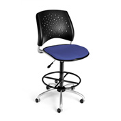OFM Fabric Swivel Stool with Drafting Kit (Footstool) - Stars Pattern - Colonial Blue