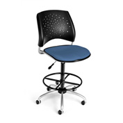 OFM Fabric Swivel Stool with Drafting Kit (Footstool) - Stars Pattern - Cornflower Blue