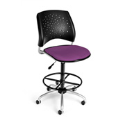 OFM Fabric Swivel Stool with Drafting Kit (Footstool) - Stars Pattern - Plum