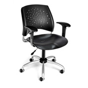 OFM Stars Plastic Swivel Chair with Arms, Black