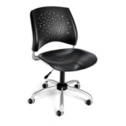OFM Stars Plastic Swivel Chair, Black