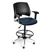 OFM Vinyl Swivel Stool with Arms & Drafting Kit (Footstool) - Stars Pattern - Navy