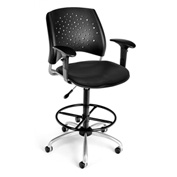 OFM Vinyl Swivel Stool with Arms & Drafting Kit (Footstool) - Stars Pattern - Black