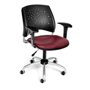 OFM Stars Vinyl Swivel Chair with Arms, Wine