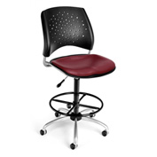OFM Vinyl Swivel Stool with Drafting Kit (Footstool) - Stars Pattern - Wine