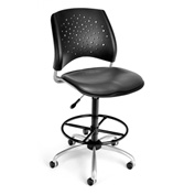 OFM Vinyl Swivel Stool with Drafting Kit (Footstool) - Stars Pattern - Charcoal