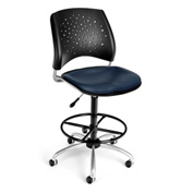OFM Vinyl Swivel Stool with Drafting Kit (Footstool) - Stars Pattern - Navy