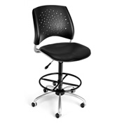 OFM Vinyl Swivel Stool with Drafting Kit (Footstool) - Stars Pattern - Black
