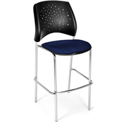 OFM Cafe Height Chair - Fabric - Star Pattern - Chrome Base - Navy - Pkg Qty 2