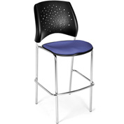 OFM Cafe Height Chair - Fabric - Star Pattern - Chrome Base - Colonial Blue - Pkg Qty 2