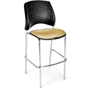OFM Cafe Height Chair - Fabric - Star Pattern - Chrome Base - Golden Flax - Pkg Qty 2